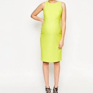 ASOS Maternity Chartreuse Open Back Dress